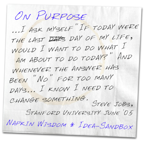 On Purpose - I ask myself 'If today were the last day of my life, would I want to do what I am about to do today?' And whenever the answer has been 'No' for too many days... I know I need to change something. - Steve Jobs, Stanford University June '05