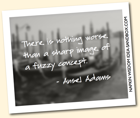 There is nothing worse than a sharp image of a fuzzy concept. - Ansel Adams