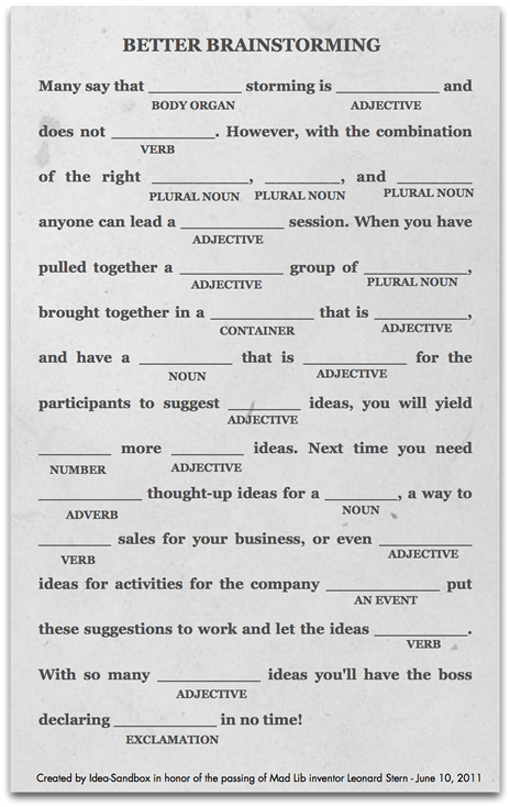 photo about Office Mad Libs Printable titled Far better Brainstorming Ridiculous Lib Strategy Sandbox