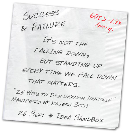 Success & Failure - 'It's not the falling down, but standing up every time we fall down that matters.' - from the '25 Ways to Distinguish Yourself' Manifesto by Rajesh Setty